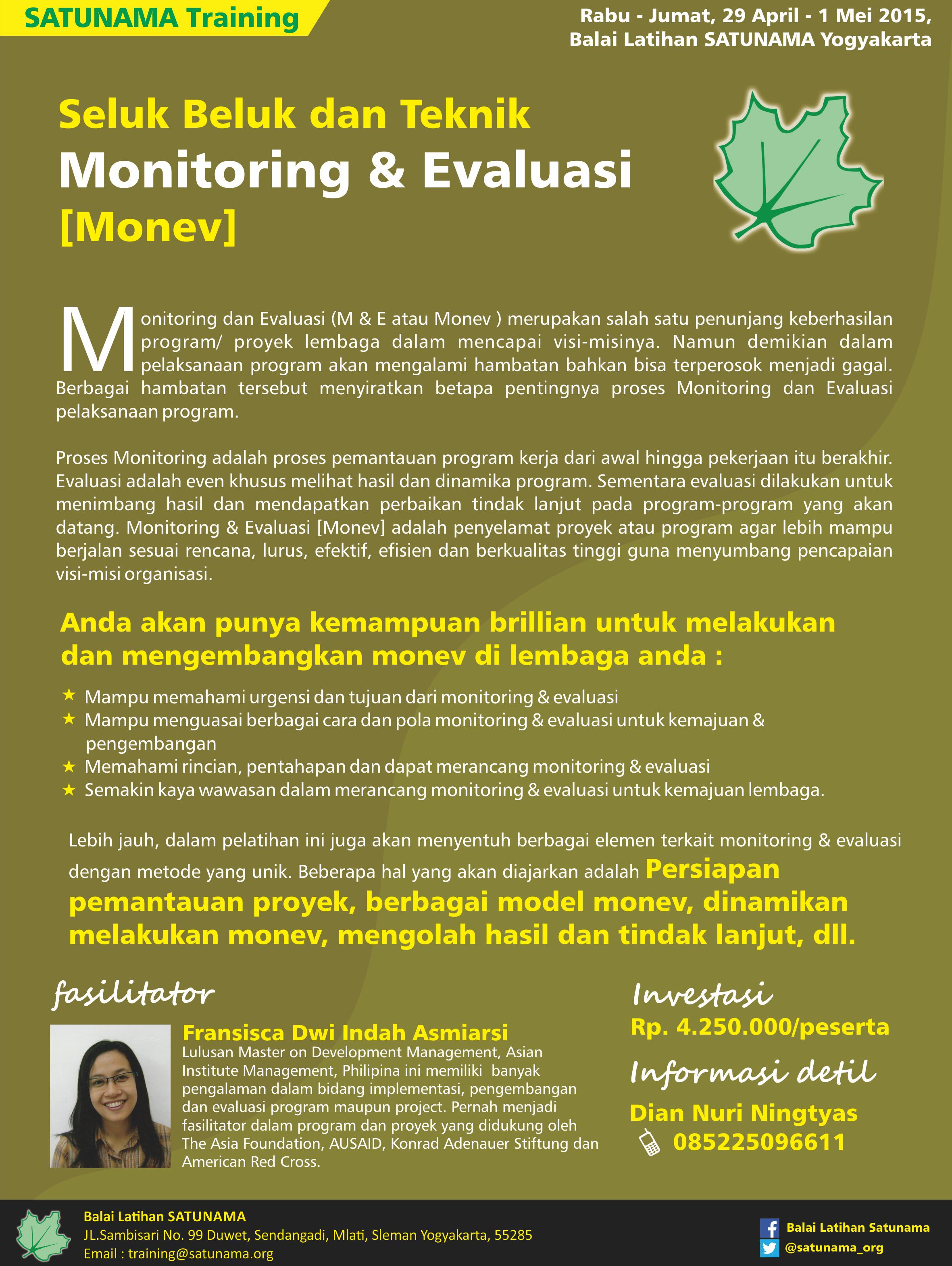 Pelatihan Monitoring And Evaluation Monev Yayasan Satunama